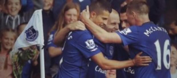 Celebración del Everton en uno de los goles