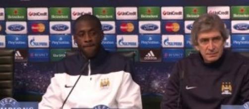 Pellegrini e Toure del Manchester City