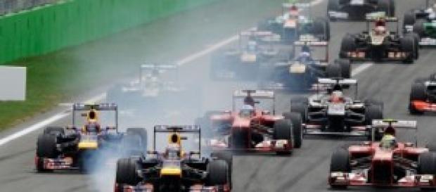 Salida en un gran premio de Fórmula 1
