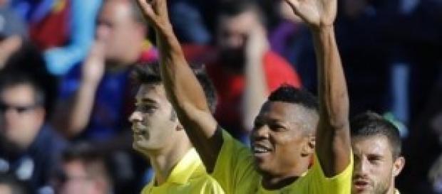 Uche celebrando su gol ante el Levante