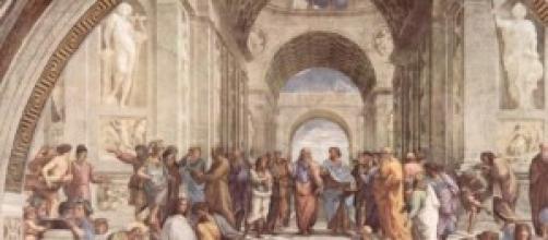 Particolare del dipinto la Scuola di Atene