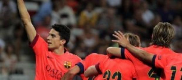 Los jugadores del Barça celebran el gol