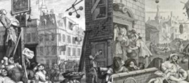 Gin Lane and Beer Street by William Hogarth, 1751