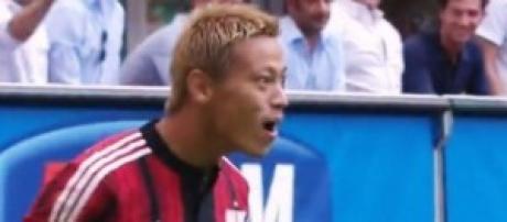 Honda, autore del gol dell'1-0 in Milan-Lazio.
