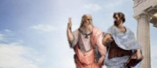 Fotografía de Platón con Aristóteles.
