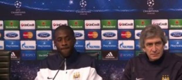 Manuel Pellegrini, City's manager and Yaya Touré