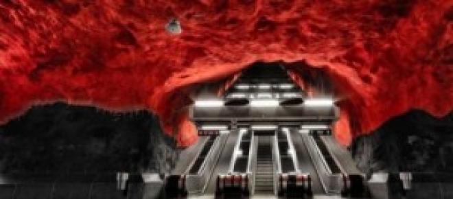 El metro de Estocolmo, roca natural.