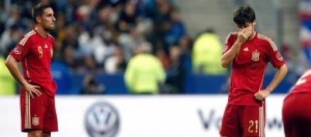 Jugadores españoles tras el gol francés