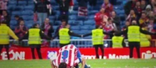 Koke arrodillado en el Bernabéu