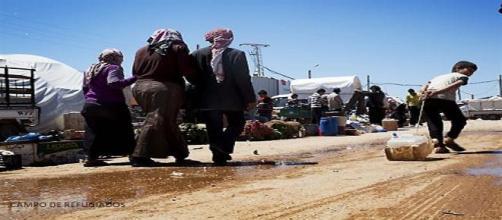 Campo de refugiados, en la frontera de Turquía.