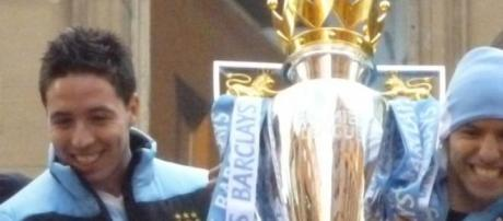 Nasri and Aguero with the trophy