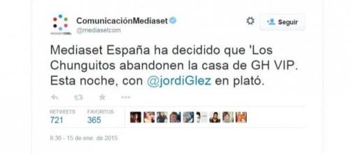 Mediaset anunciando la expulsión de Los Chunguitos