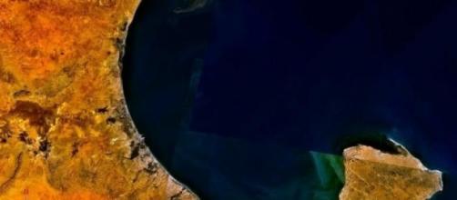 Vista aérea del golfo de Gabès en Túnez