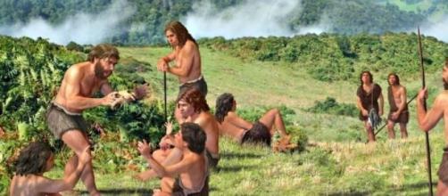 Recreación de un grupo humano prehistórico