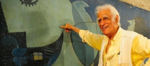 "Ziraldo e seu mural ""A última ceia"""