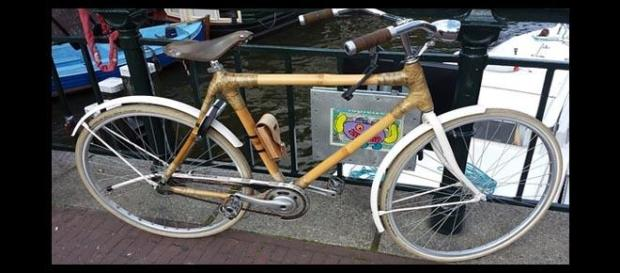 Bicicleta con cuadro de bambú