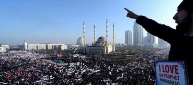 Manifestation à Grozny (Tchéchénie)