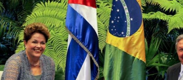 Mme Rousseff et Mr Castro à  Cuba en janvier 2014