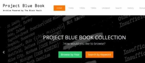 """Page d'accueil du projet """"Blue Book""""."""