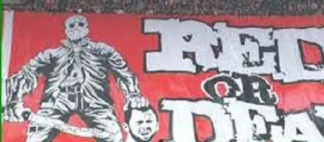 The offensive banner at the Standard Liege ground