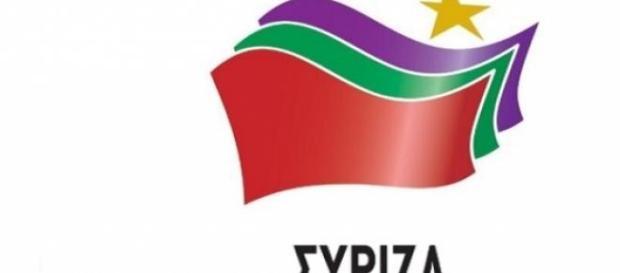 Logo de Syriza, en griego, el partido ganador ayer