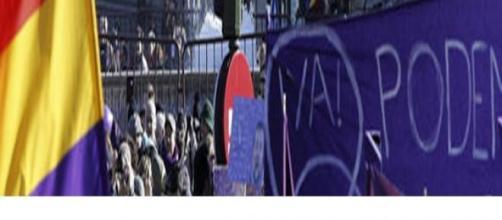Concentración de seguidores de Podemos en Madrid