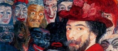 "Parte de ""Auto-retrato com máscaras"" de Ensor"