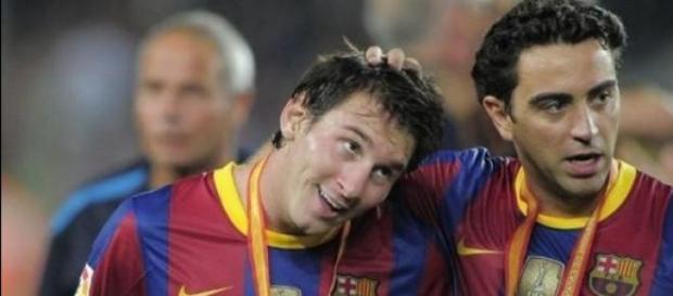 Messi y Xavi en el F.C. Barcelona