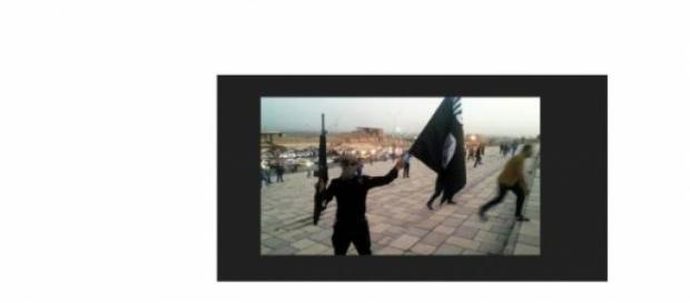 combattant brandissant le drapeau