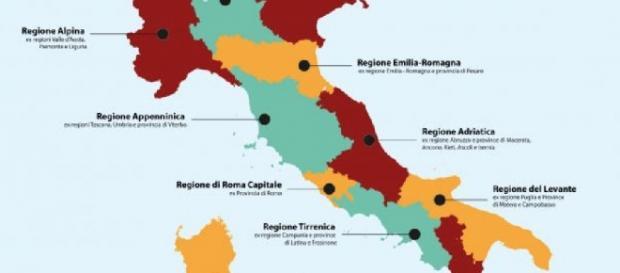 Ecco come cambierebbero le Regioni italiane