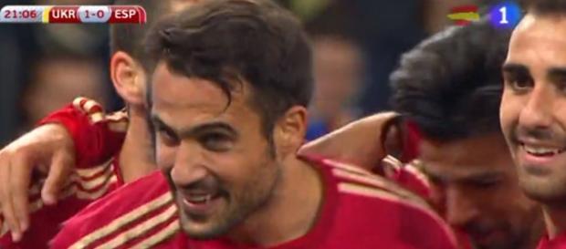 Mario celebrando el único gol del partido