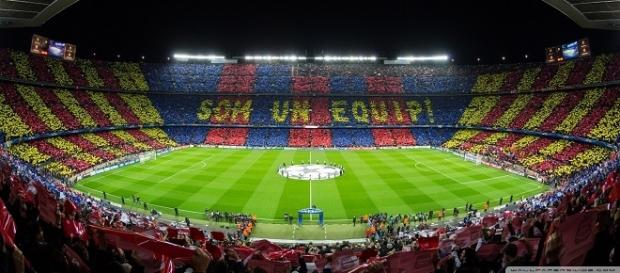 Mosaico del Barça antes de un partido de Champions