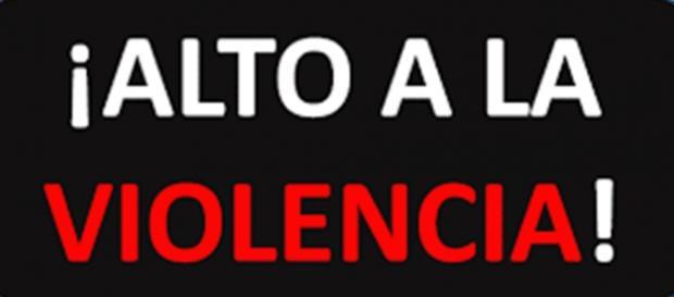 ilustracion con el lema, alto a la violencia