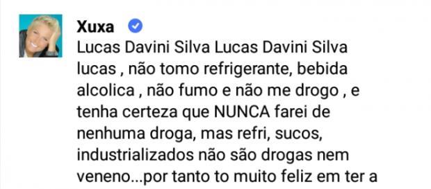 Xuxa diz que não toma refrigerante