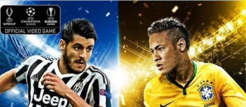 La copertina di PES 2016, con Morata e Neymar