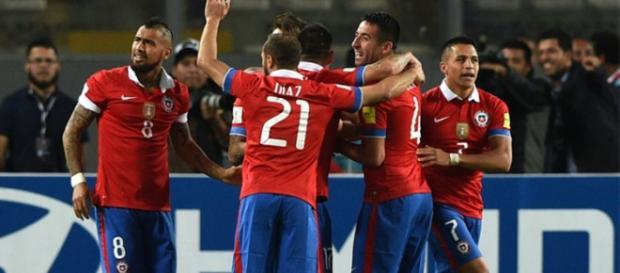 Chile celebra su victoria ante Perú (Conmebol.com)