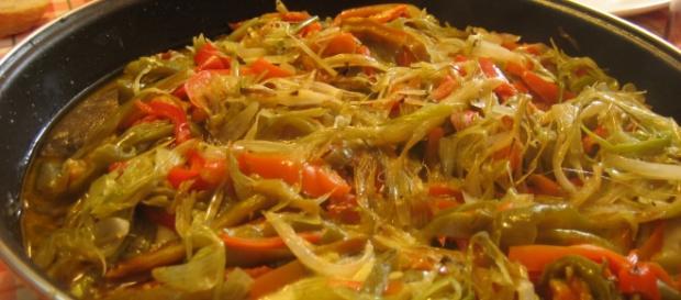 Imagen de nuestro plato: bacalao con piperrada