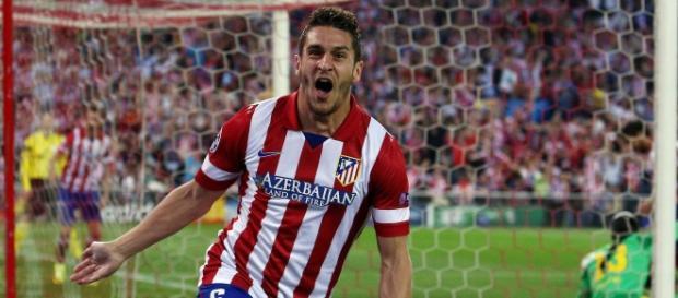 koke celebra su gol frente al Barça