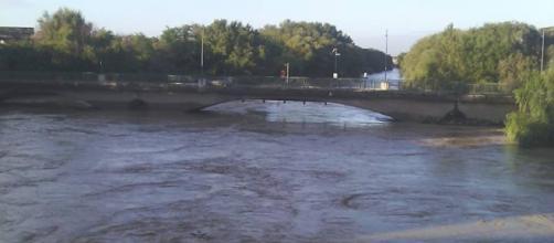 Il fiume Volturno in piena a Capua
