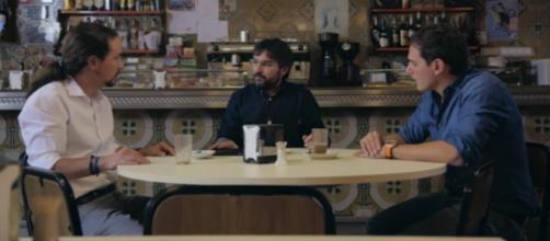 Iglesias, Évole y Rivera durante el debate