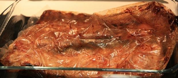 Carne al horno preparada en la bolsa