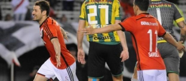 Rodrigo Mora en el festejo del empate