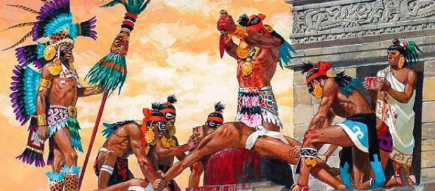 Recreación de una ceremonia sacrificial maya