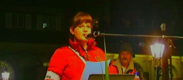Polka przemawiała na wielkim wiecu w Dreźnie.