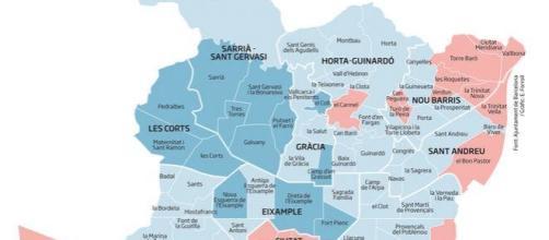 El Mapa De La Renta Familiar Por Barrios De Barcelona En El 2016