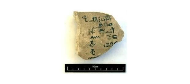 Ostracón del siglo XV a. C. hallado en Luxor