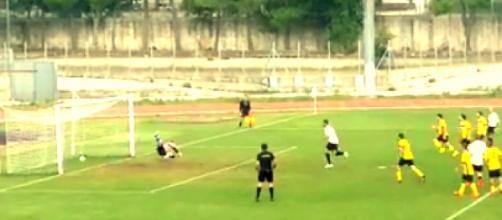 Il gol della Nissa su calcio di rigore