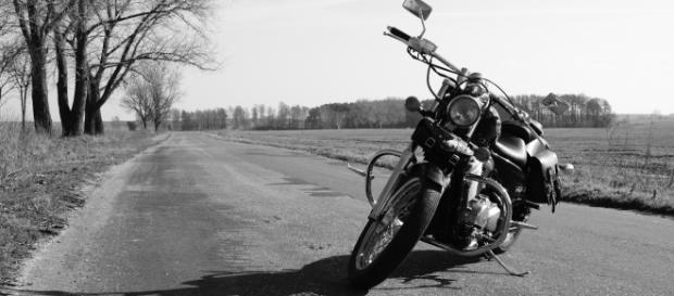 Black & white motorcycle photo