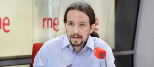 Pablo Iglesias durante la entrevista de RTVE