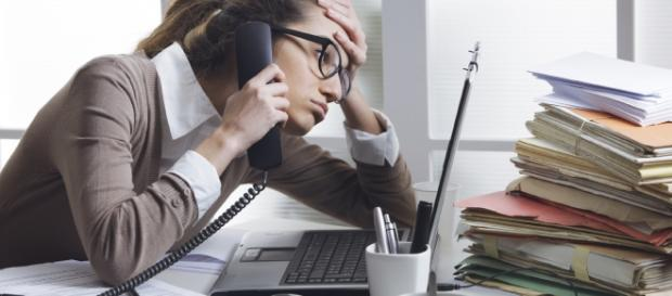 A woman working in stressful conditions